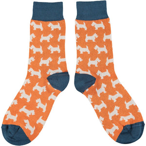 Ladies Cotton Ankle Socks - Scottie Dogs