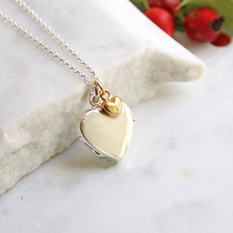 Personalised Heart Locket with Heart Necklace Sterling Silver