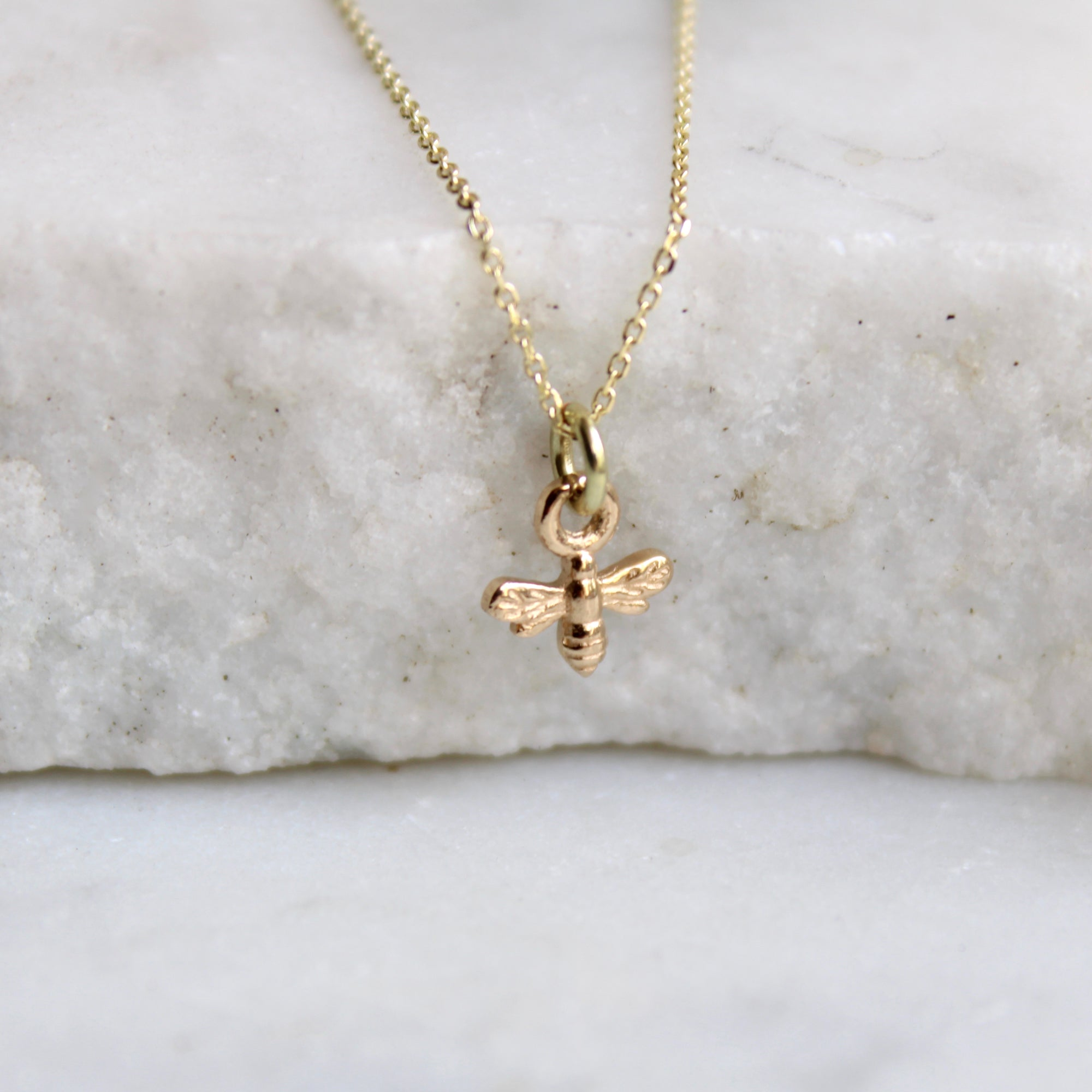 Mini Bee Charm Necklace 14ct Solid Gold