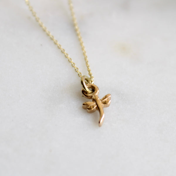 Mini Dragonfly Charm Necklace 14ct Solid Gold