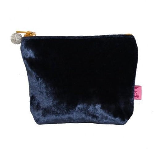 Mini Velvet Purse: Navy