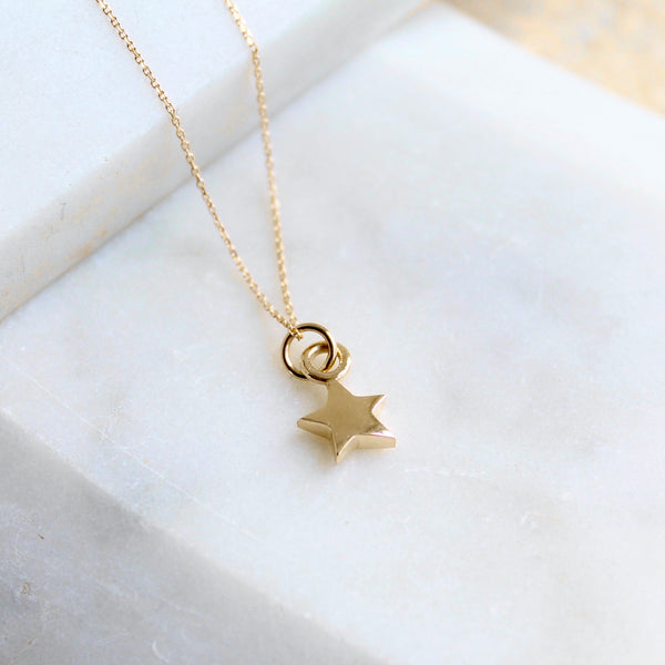 Tiny Star Charm Necklace 14ct Solid Gold