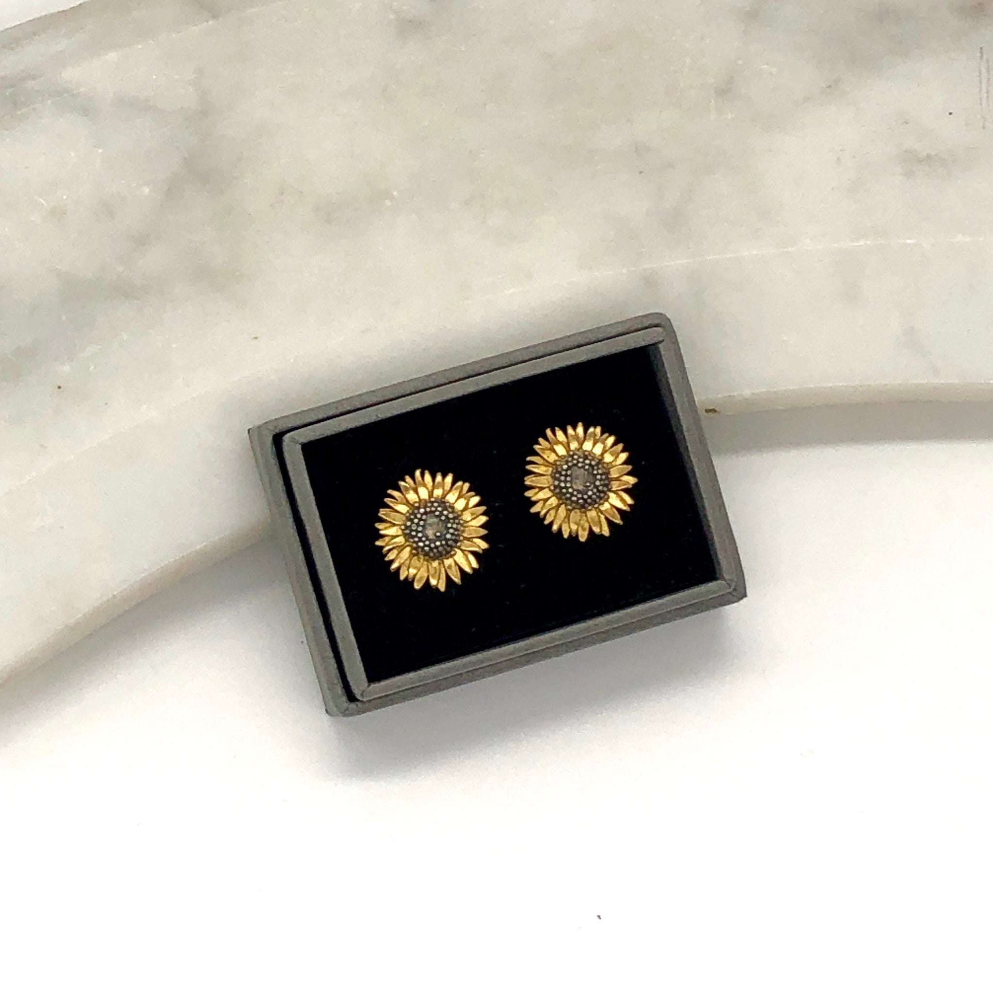 Gold Vermeil and Sterling Silver Sunflower Earrings