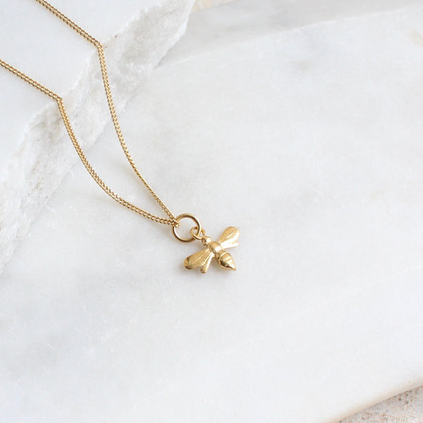 Tiny Bee Charm Necklace 14ct Solid Gold