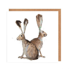 Load image into Gallery viewer, Illustrated Greetings Cards Greetings card Henderson's Hare Pair