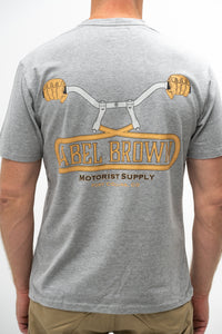 Abel Brown Bars Tee - Heather Grey