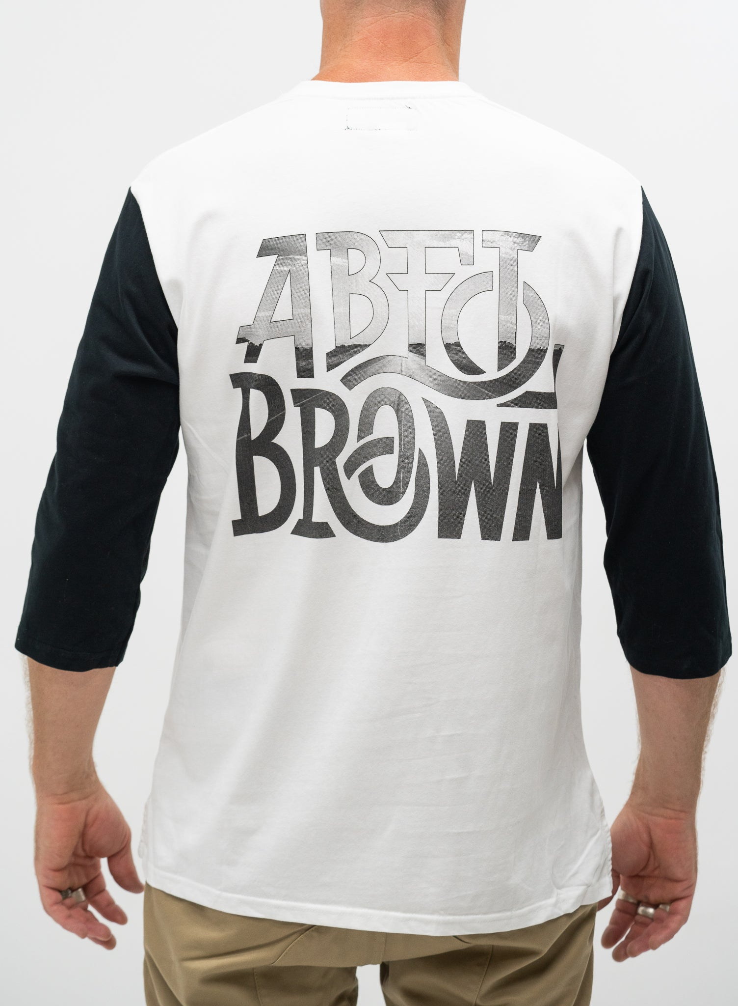 Abel Brown Stretch Baseball Tee - White