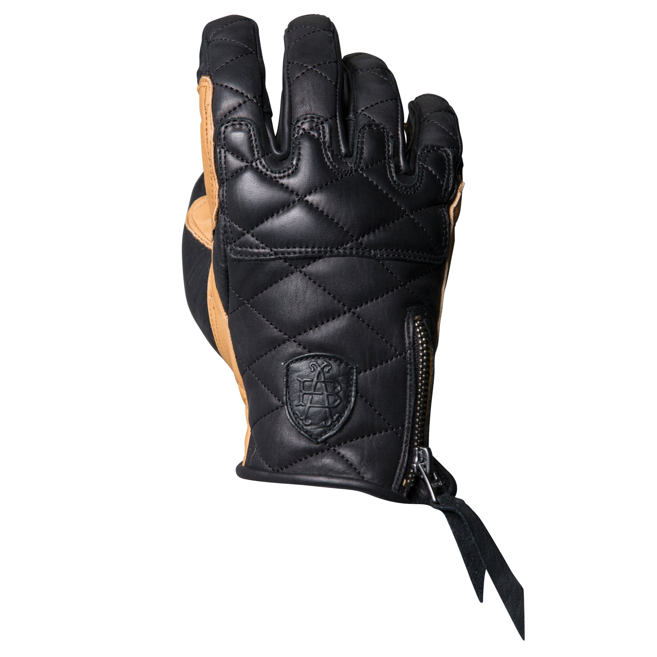 Duster black and tan heritage leather motorcycle glove made with the spirit of iconic desert motorcross racing, this is the back of hand view, and could be worn on motox, chopper riding, cafe racer, tracker, brat style, or adventure bike
