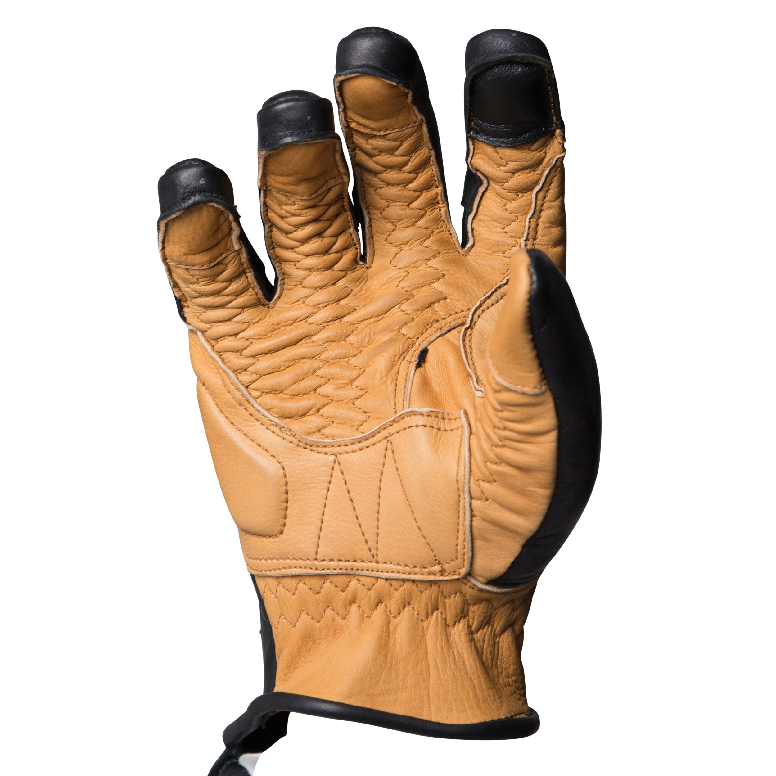 Duster black and tan heritage leather motorcycle glove made with the spirit of iconic desert motorcross racing, this is the palm view, and could be worn on motox, chopper riding, cafe racer, tracker, brat style, or adventure bike