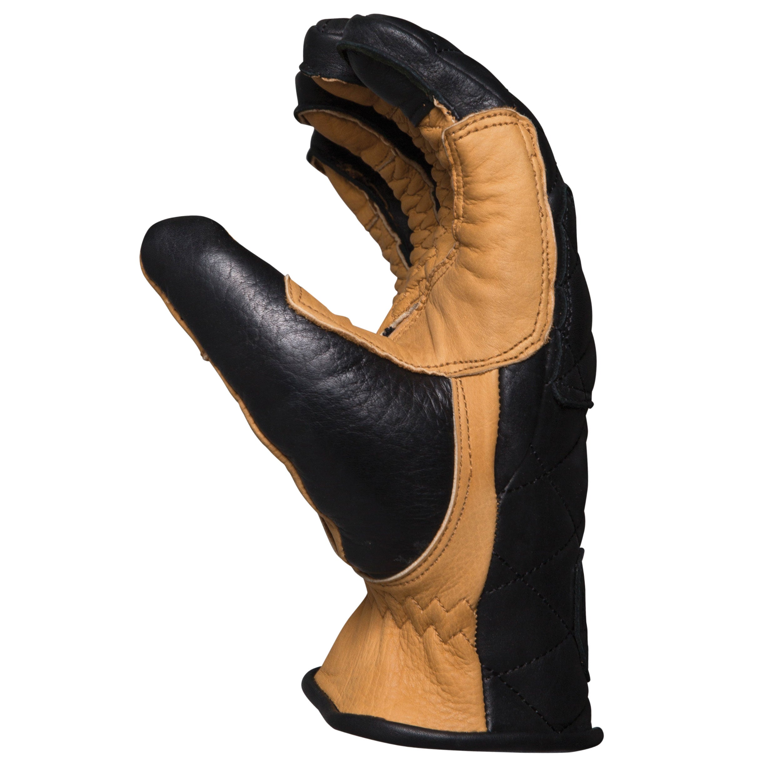 Duster black and tan heritage leather motorcycle glove made with the spirit of iconic desert motorcross racing, this is the side of hand view, and could be worn on motox, chopper riding, cafe racer, tracker, brat style, or adventure bike