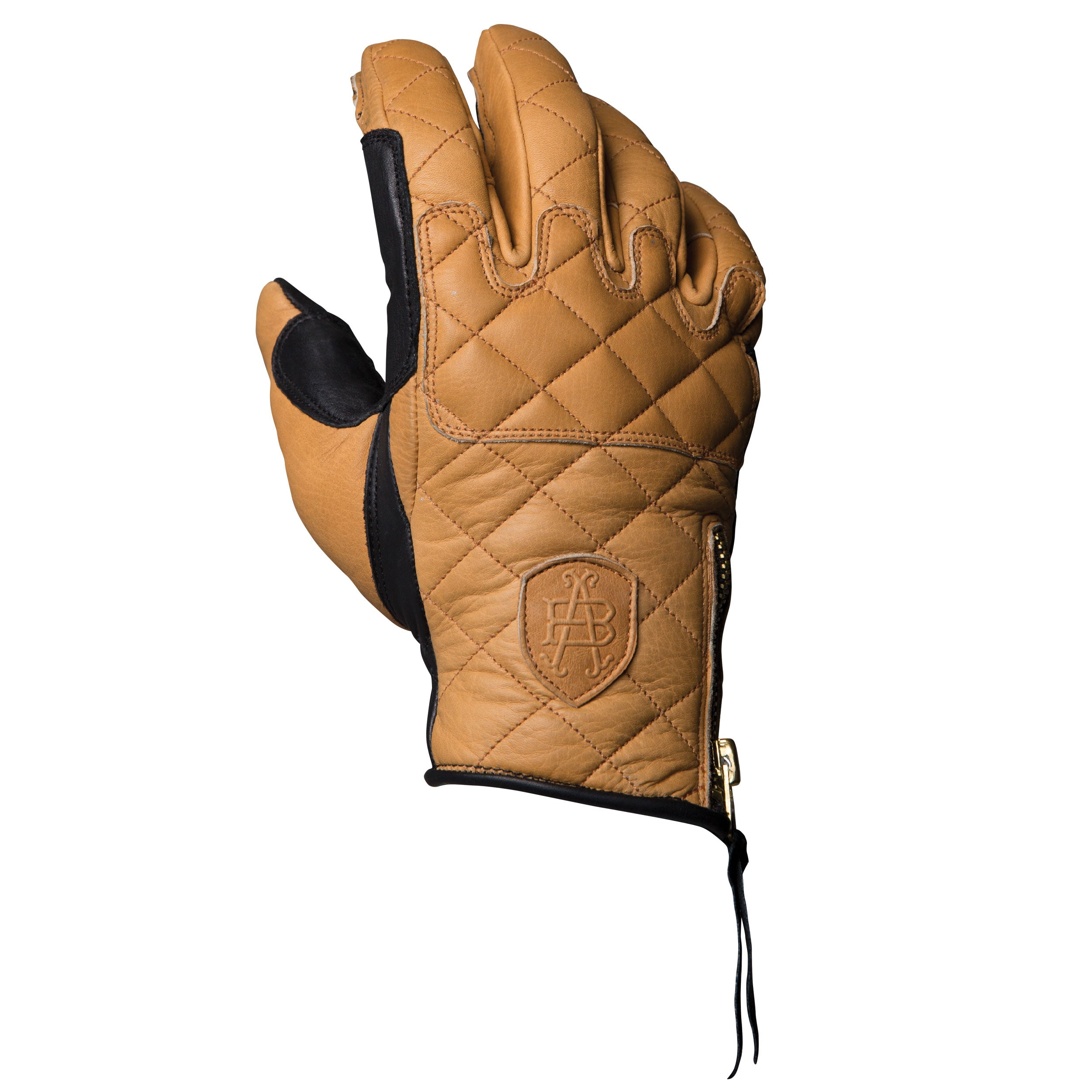 Duster tan and black heritage leather motorcycle glove made with the spirit of iconic desert motorcross racing, this is the back of hand view, and could be worn on motox, chopper riding, cafe racer, tracker, brat style, or adventure bike