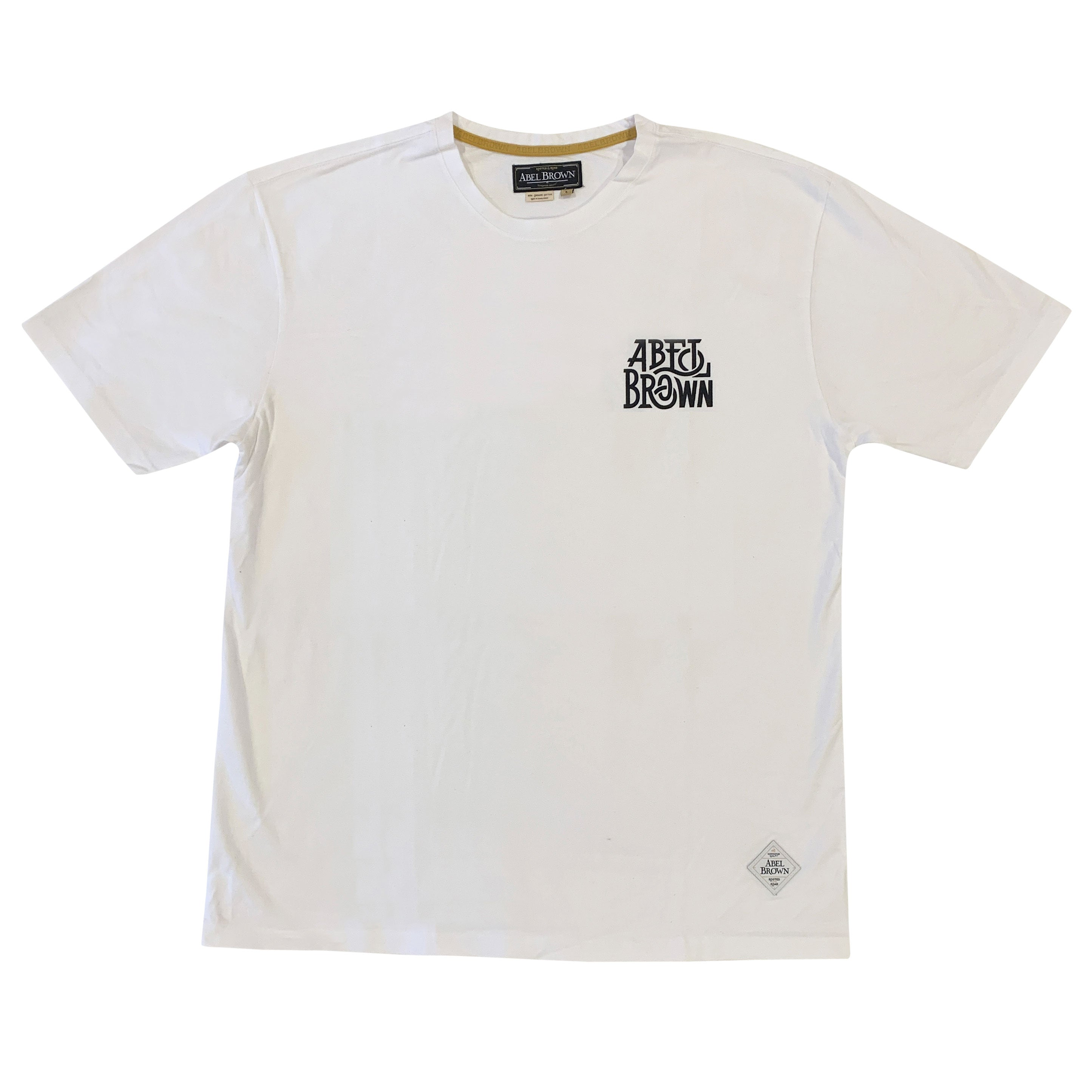 Abel Brown Stretch Tee - White