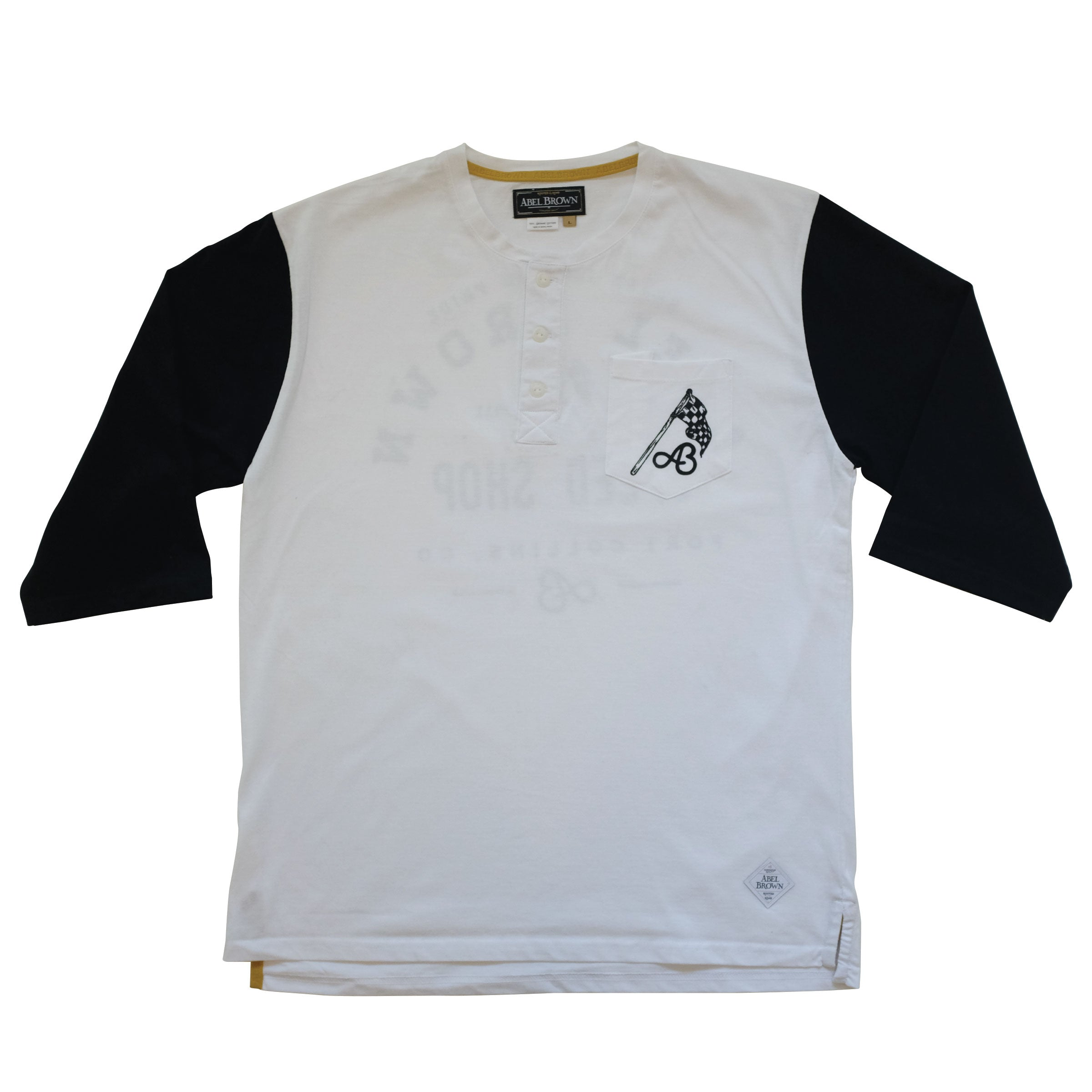 Rally Graphic 3/4 sleeve Henley shirt- White