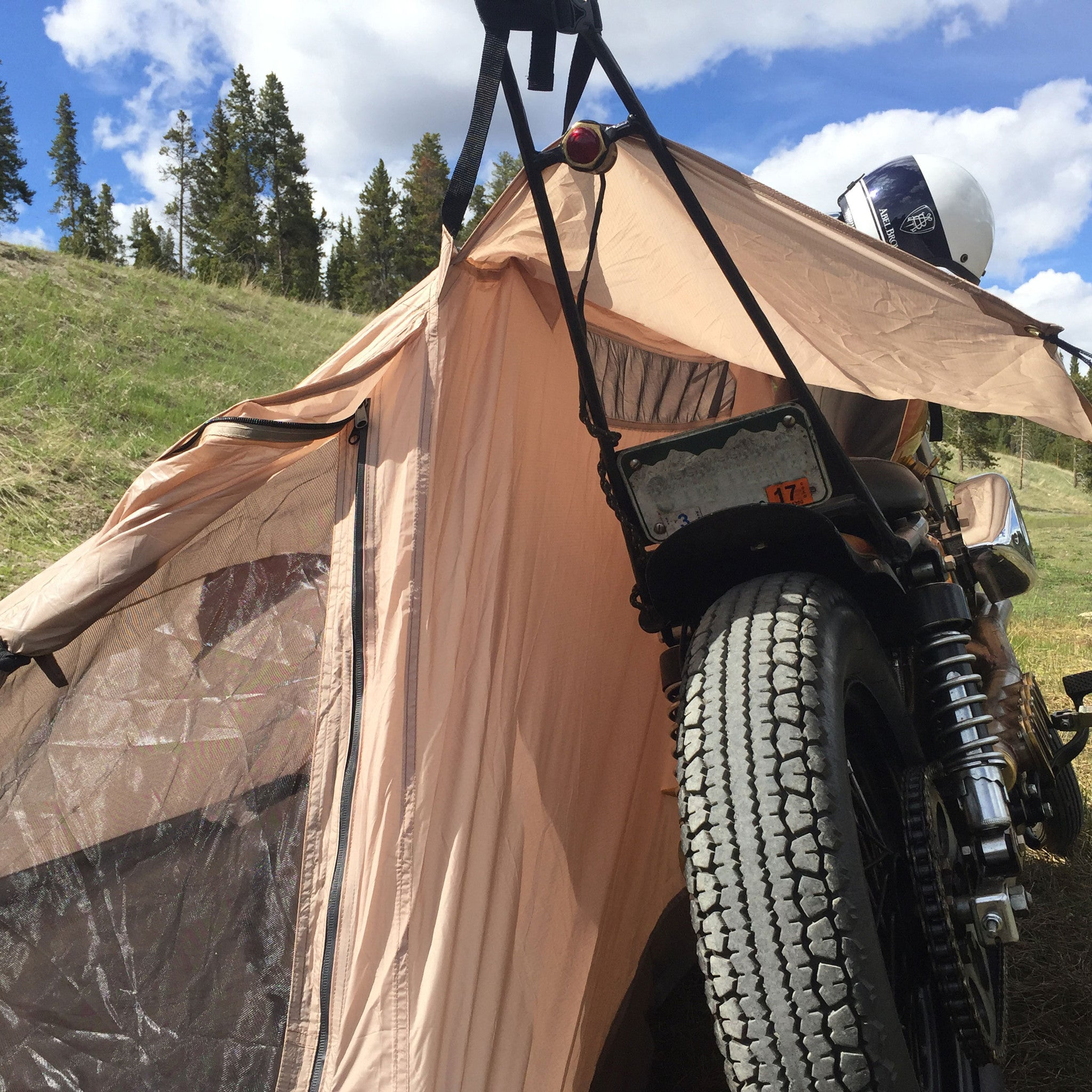 Nomad 2 motorcycle tent connects directly to your motorcycle with no poles ... & Nomad 2 Camp Tent u2013 Abel Brown
