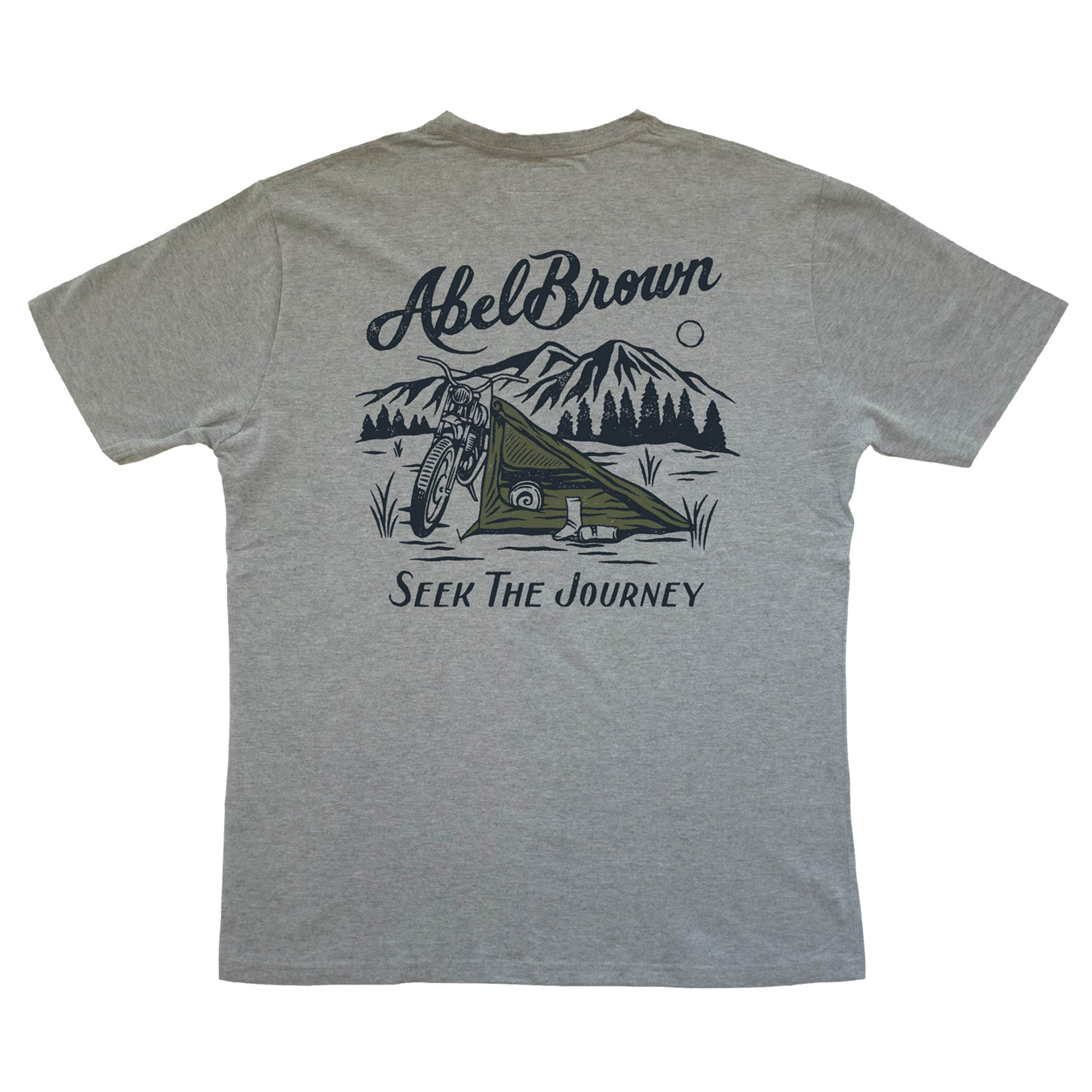 Abel Brown Nomad Tent t-shirt printed on organic cotton softest tee shirt in your closet.  Shows picture of our Nomad tent fixed to a motorcycle in the mountains