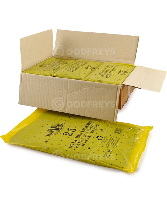 Disposable Bin Liners 120L Heavy Duty Black 250ctn