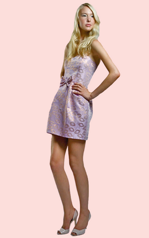 Doreen Brocade Mini Dress - Gold