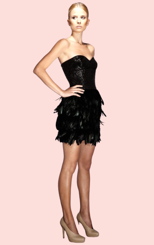 James Feather Dress - Black