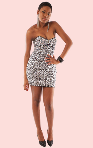 Strapless Metallic Dress - Black