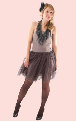 V-Neck Front Warp Dress - Grey Moss