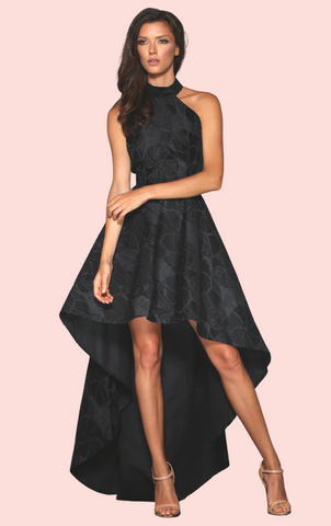 Lace Cap Sleeve Dress - Black