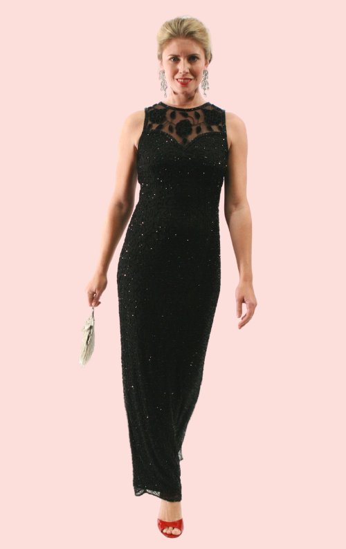 Beaded Column Dress - Black