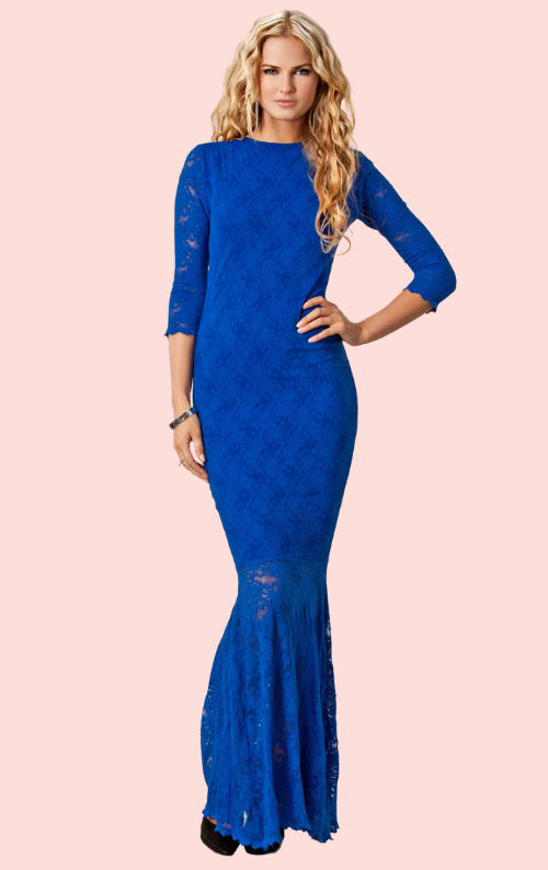 Lisa Lace Maxi Dress - Cobalt