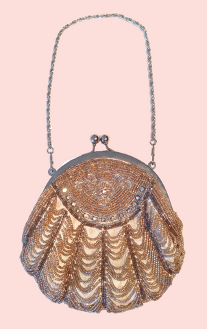Loop Handle Beaded Bag - Silver