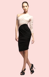 One Shoulder Dress - Pink Black