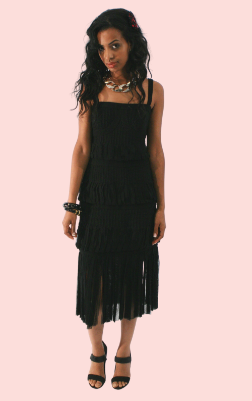 Sleeveless Fringe Dress - Black