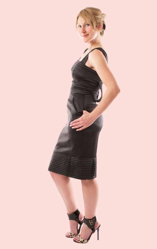 Sleeveless Silk Shift Dress - Black