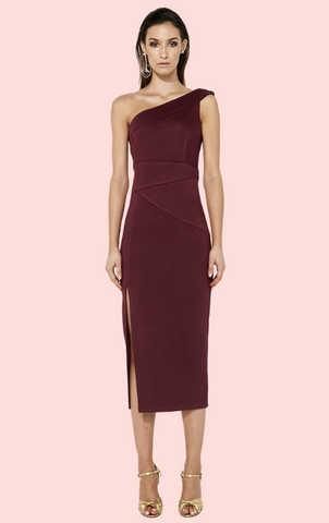 Wrap Front 3/4 Sleeve Dress - Mulberry