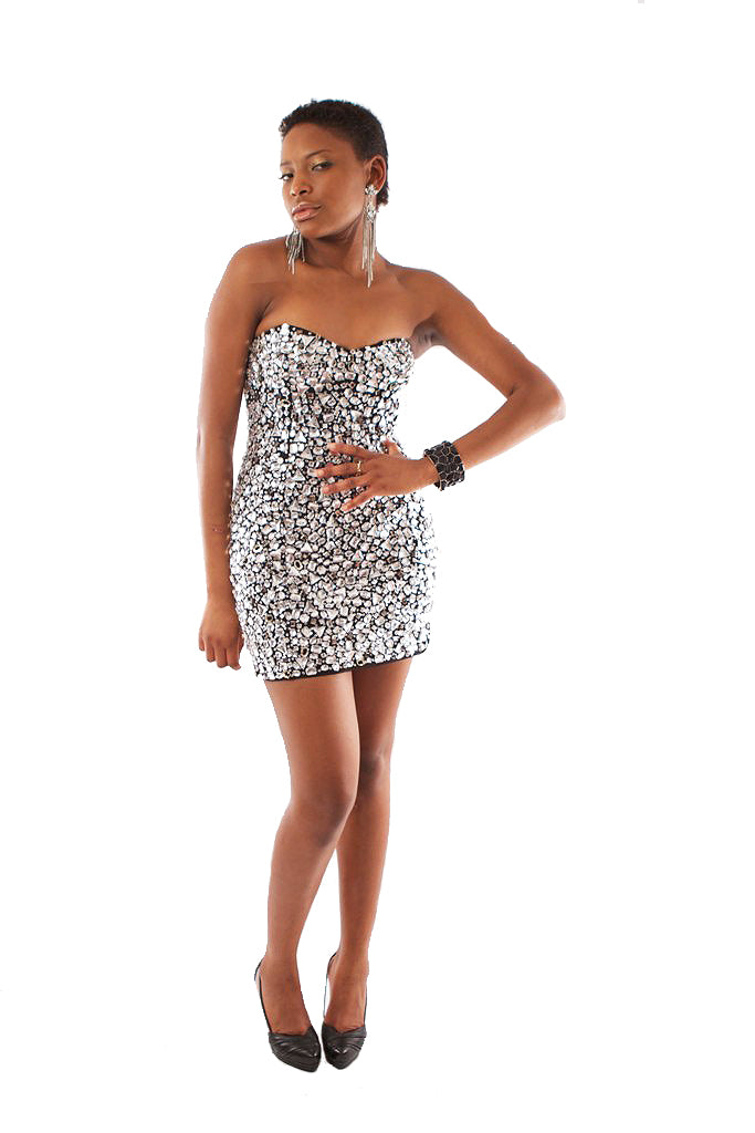Molly Crystal Dress - Silver