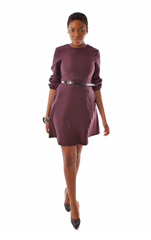 Silk 3/4 Sleeve Dress - Merlot