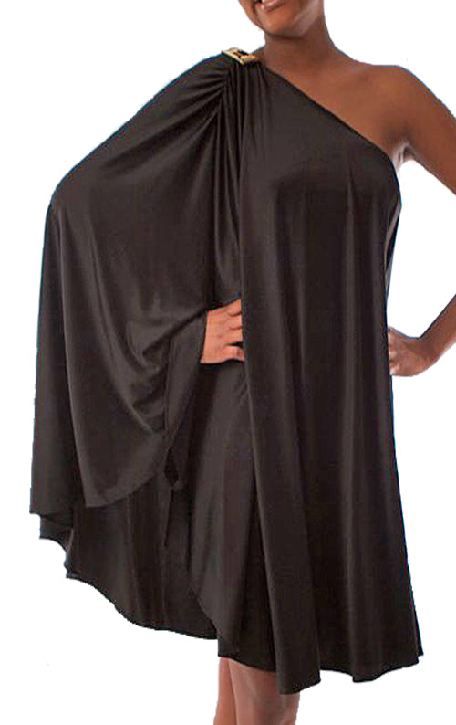 Kaftan Satin Dress - Black