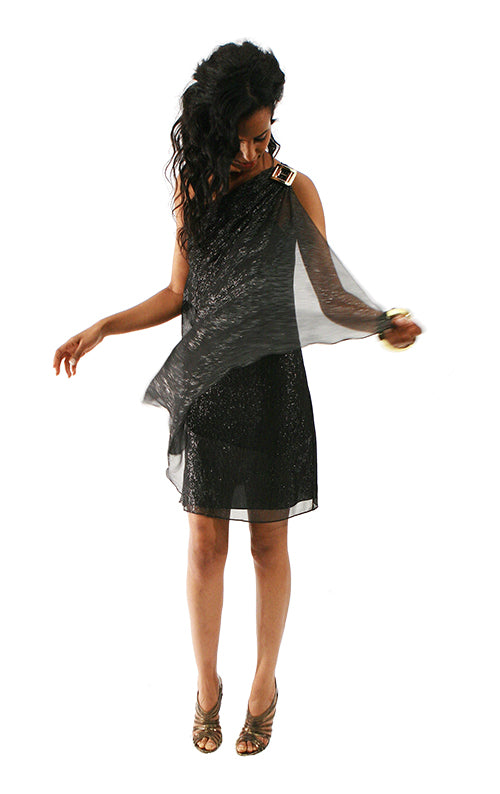 One Shoulder Silk Dress - Black