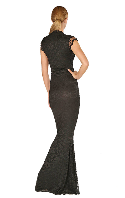 Adrianna Lace Maxi Dress - Black