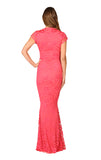 Adrianna Lace Maxi Dress - Coral