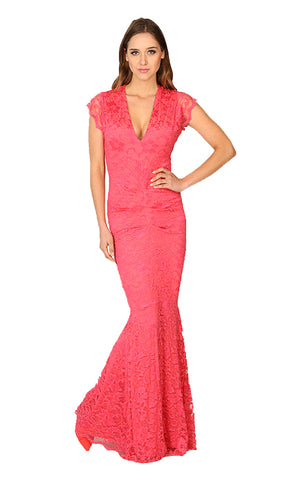 Adrianna Lace Midi Dress - Coral