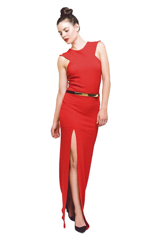 Janine One Shoulder Dress - Red