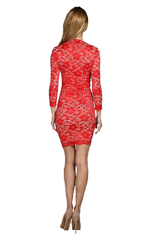 Lola Lace Mini Dress - Red