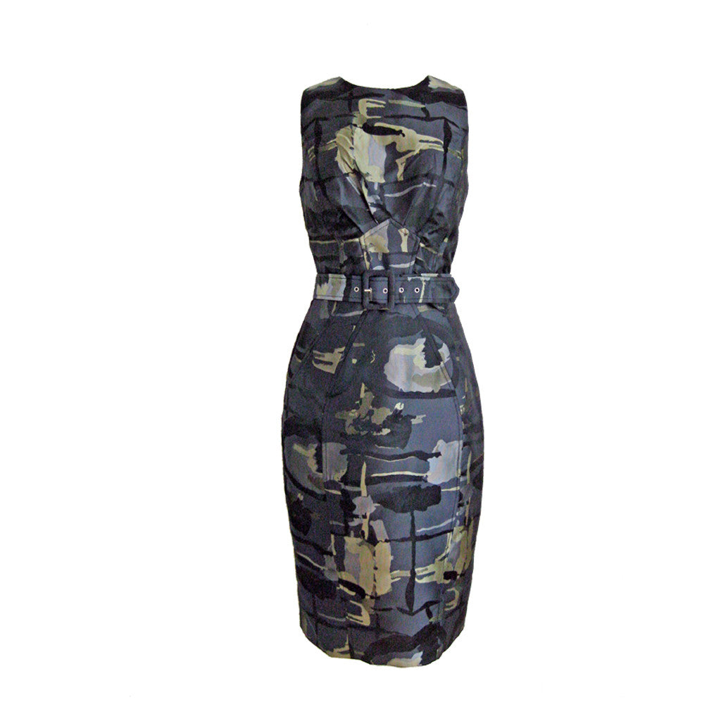 Camo Print Shift Dress - Green