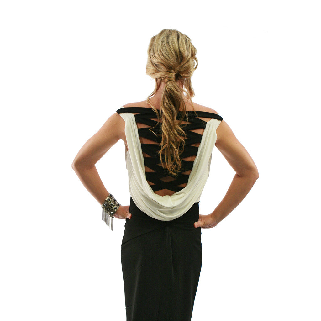 Crisscross Back Dress - White Black