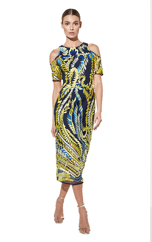 Hummingbird Dress - Navy/Yellow