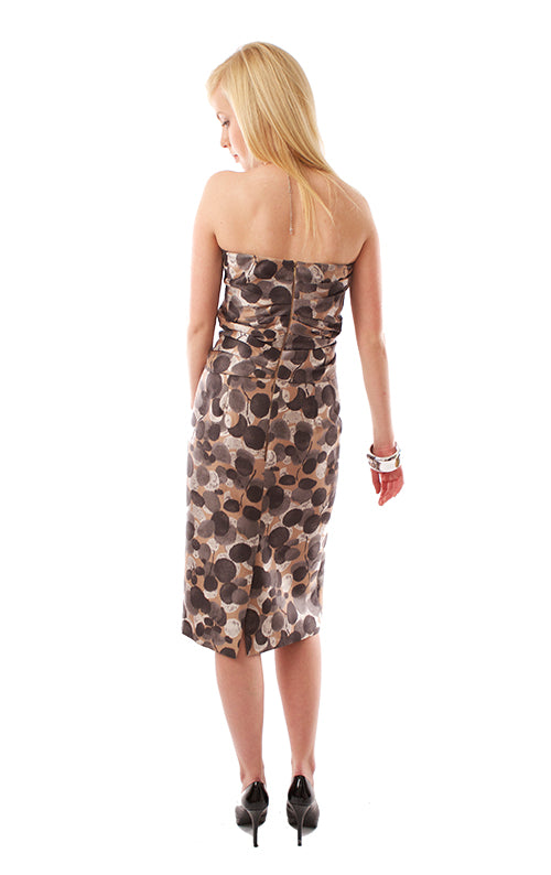 Strapless Print Shift Dress - Taupe