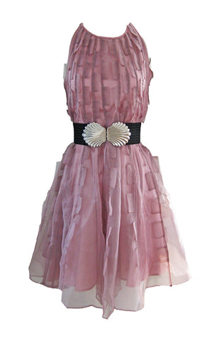 Draped Satin Dress - Blush