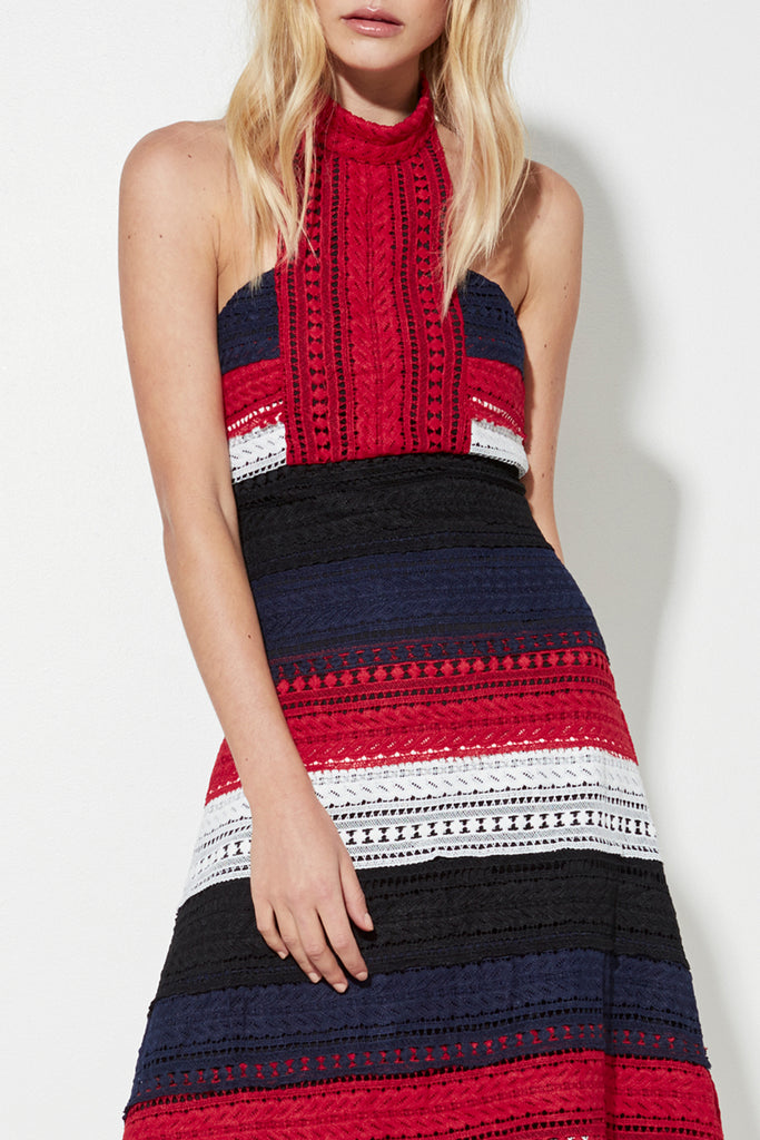 Patriot Midi Dress - Stripe/Red