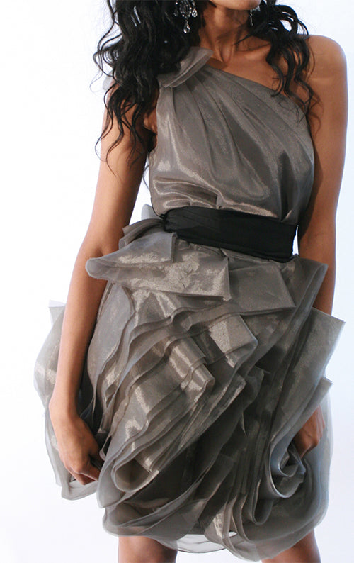 Organza One Shoulder Dress - Grey