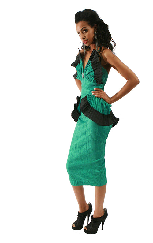 BB Collection Peplum Dress - Green