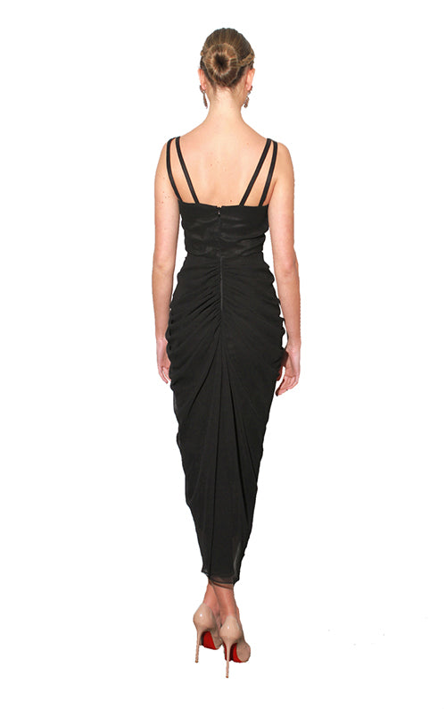 Jade V-Neck Dress - Black